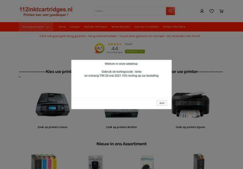 Screenshot van 112inktcartridges.nl