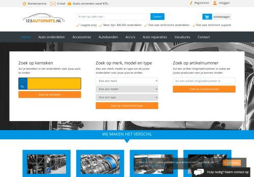 Screenshot van 123autoparts.nl