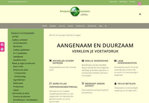 Screenshot van aangenaamenduurzaam.nl