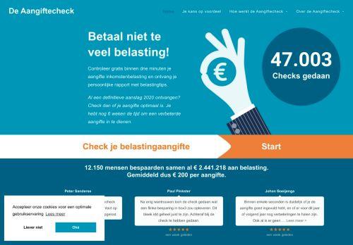 Screenshot van aangiftecheck.nl