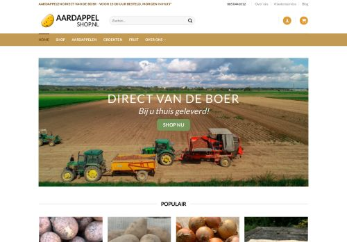 Screenshot van aardappelshop.nl