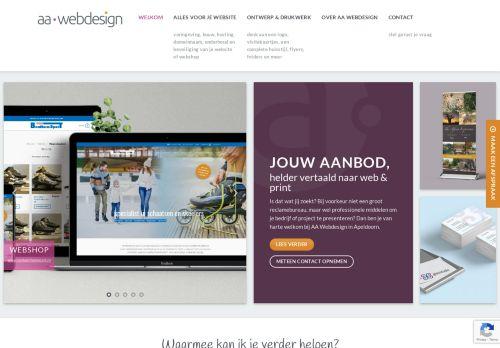 Screenshot van aawebdesign.nl