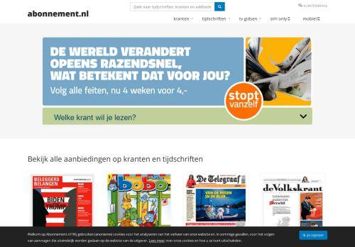 Screenshot van abonnement.nl