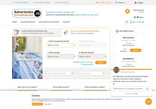 Screenshot van advertentiegroothandel.nl