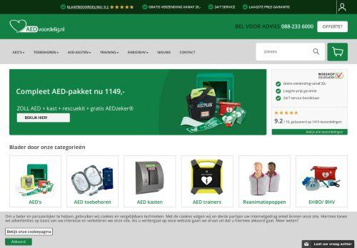 Screenshot van aedvoordelig.nl