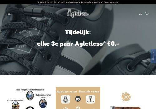 Screenshot van agletless.nl