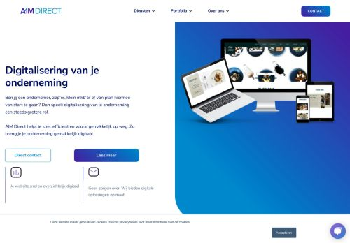 Screenshot van aimdirect.nl