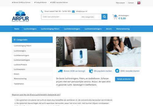 Screenshot van airpur.nl