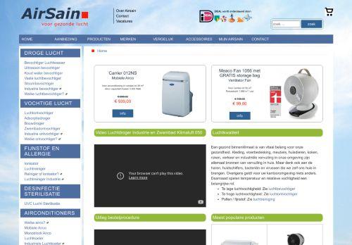Screenshot van airsain.nl