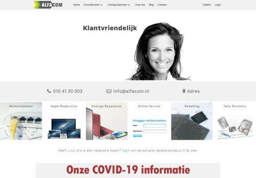 Screenshot van alfacom.nl