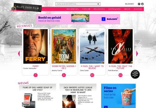 Screenshot van allesoverfilm.nl