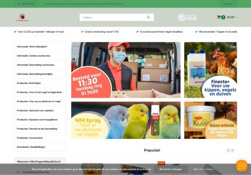Screenshot van allestegenbloedluis.nl