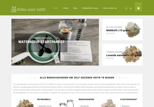 Screenshot van allesvoorkefir.nl