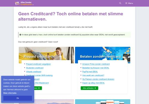 Screenshot van alleszondercreditcard.nl
