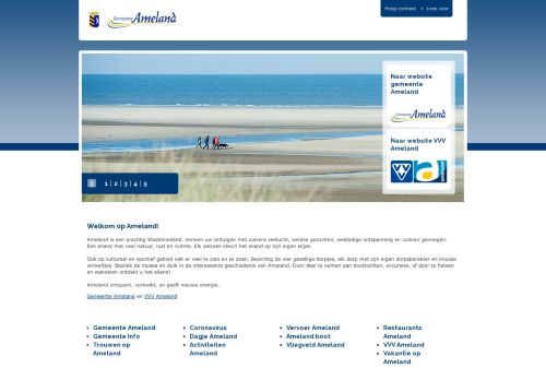 Screenshot van ameland.nl