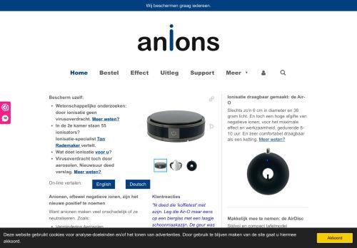 Screenshot van anions.nl