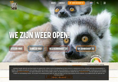 Screenshot van apenheul.nl