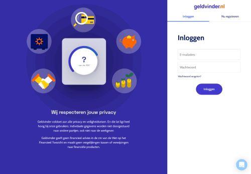 Screenshot van app.geldvinder.nl