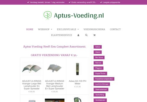 Screenshot van aptus-voeding.nl