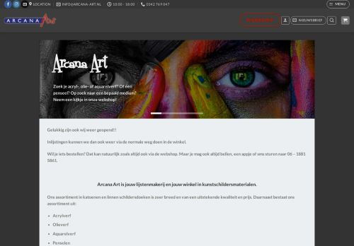 Screenshot van arcana-art.nl