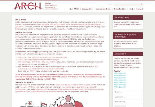 Screenshot van arch.nl