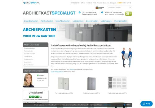 Screenshot van archiefkastspecialist.nl