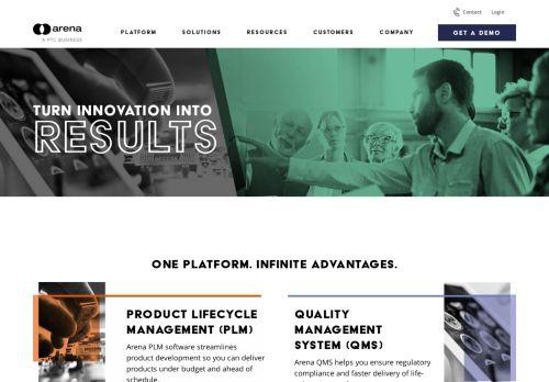 Screenshot van arenasolutions.com