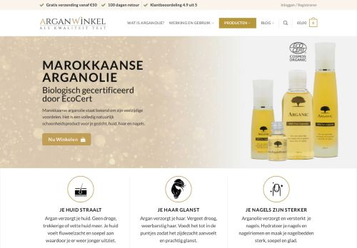 Screenshot van arganwinkel.nl