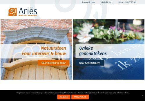 Screenshot van ariesnatuursteen.nl