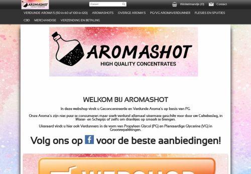Screenshot van aromashot.nl