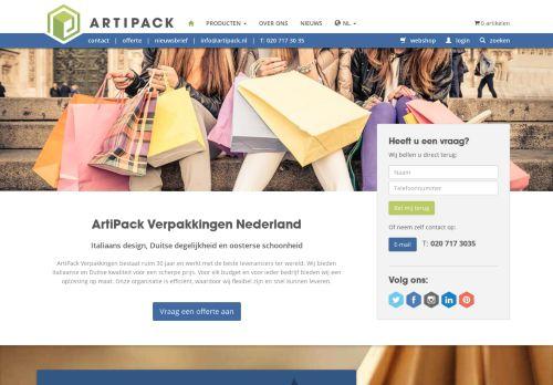 Screenshot van artipack.nl