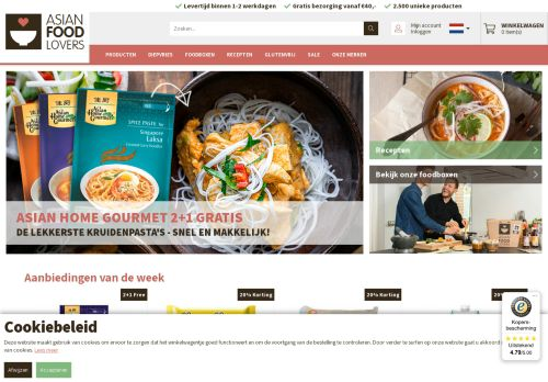 Screenshot van asianfoodlovers.nl