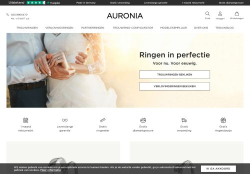 Screenshot van auronia.nl