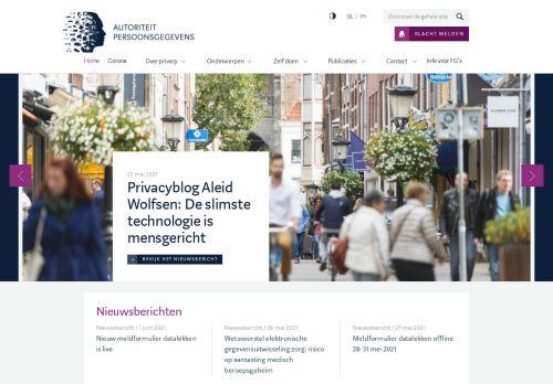 Screenshot van autoriteitpersoonsgegevens.nl