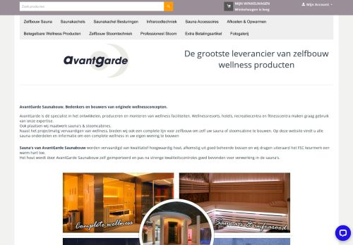 Screenshot van avantgardesaunabouw.nl