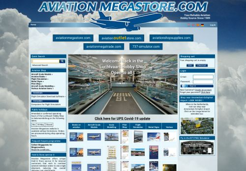 Screenshot van aviationmegastore.com