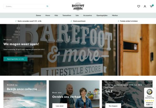 Screenshot van barefootandmore.nl