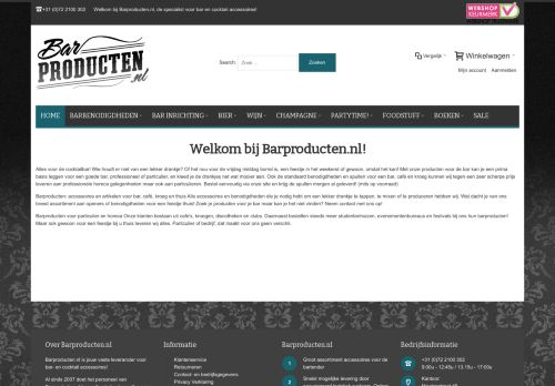 Screenshot van barproducten.nl