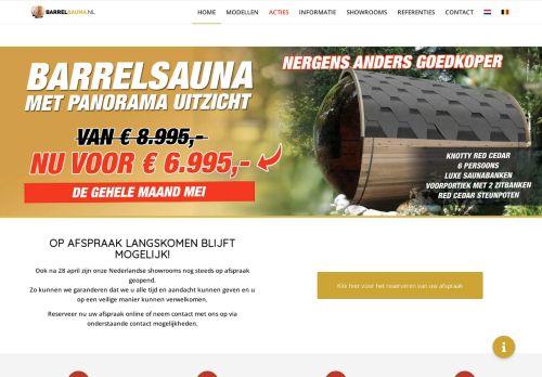 Screenshot van barrelsauna.nl