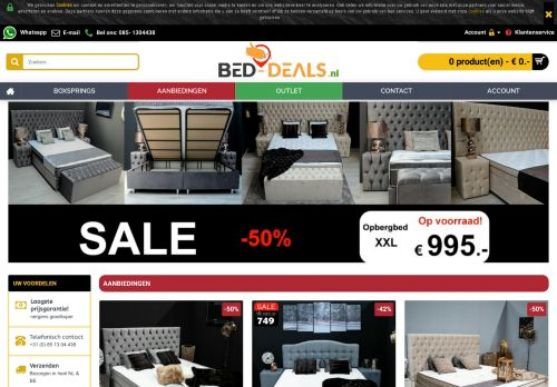 Screenshot van bed-deals.nl