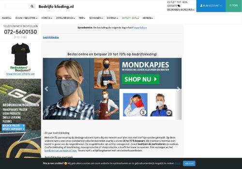 Screenshot van bedrijfs-kleding.nl