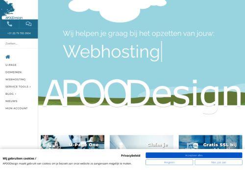 Screenshot van apoodesign.nl
