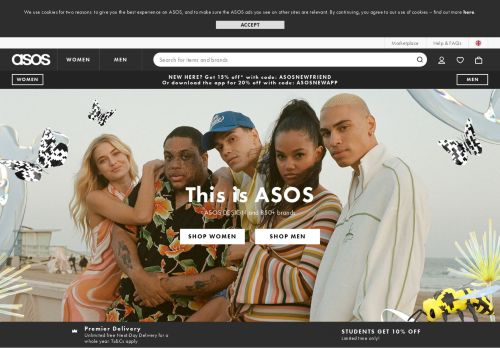 Screenshot van asos.com